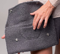 Patch Pocket on a knitted clutch, Chiroscope Clutch by Allison Jane.