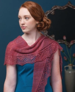 Red Shawl with elaborate edging
