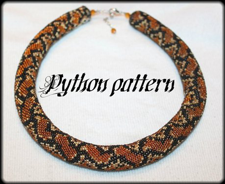 Python Snake Sking Bead Crochet Rope Necklace Pattern Interweave