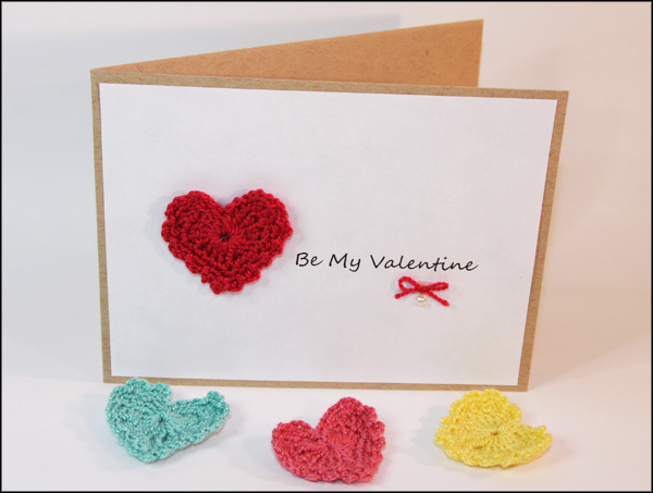 Quick Crocheted Hearts and Valentines Day Card – Valentines Handmade Card