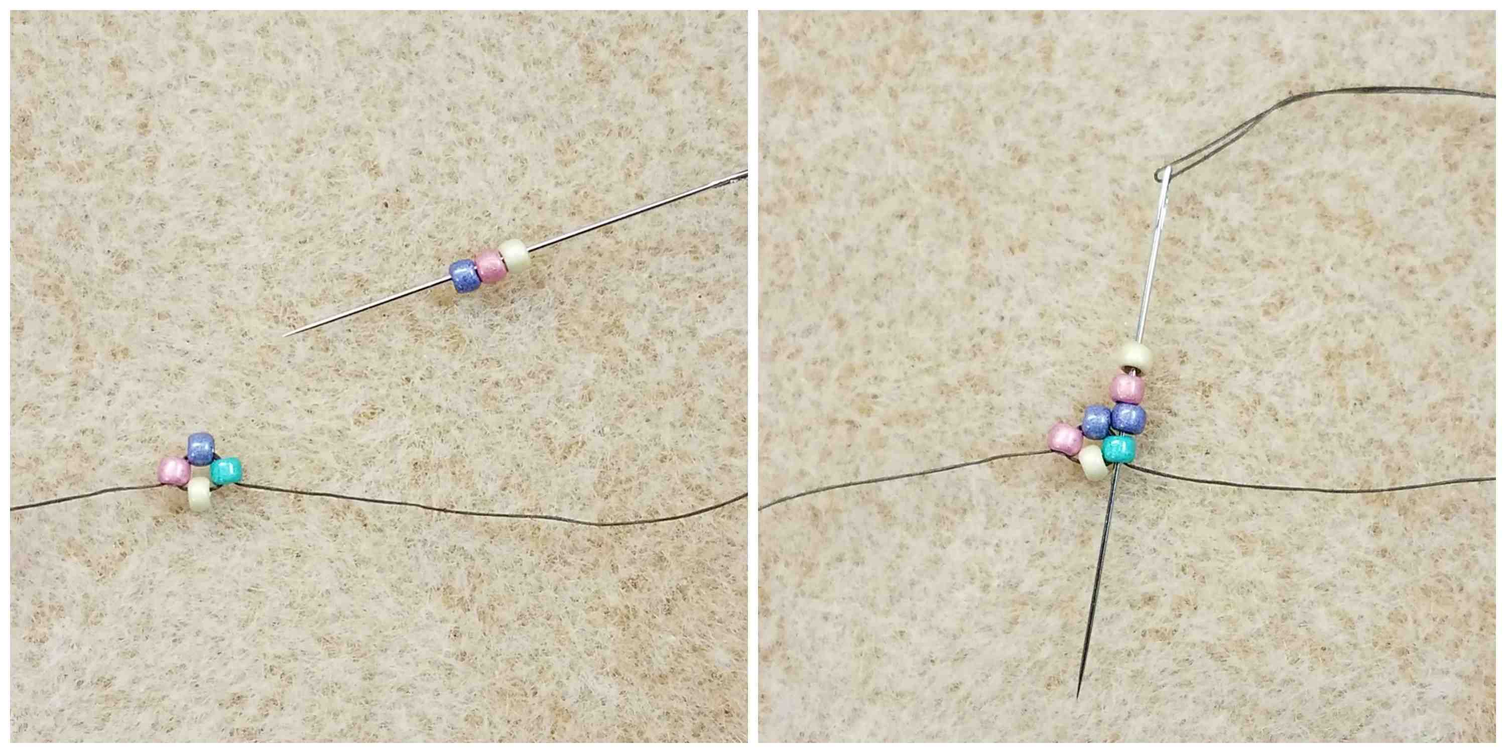 How To Stitch Right-Angle Weave steps 5 and 6