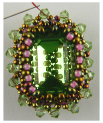 Embellished right-angle weave and netting beaded bezel
