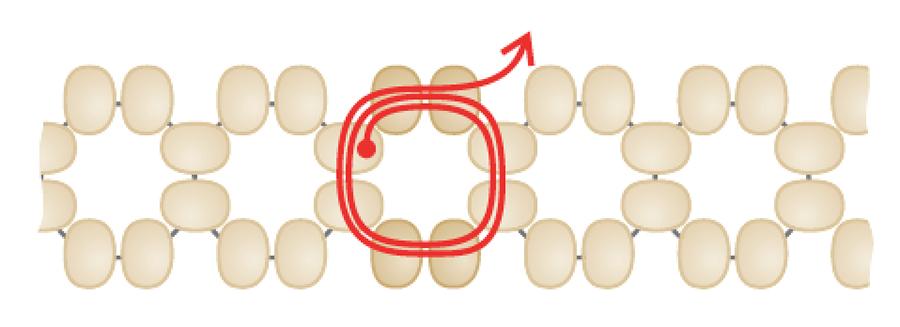 Corona necklace, row 1, right-angle weave