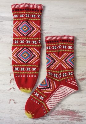 The pattern for the Red Diamond Socks appears in the ebook 5 Traditional Albanian Socks to Knit