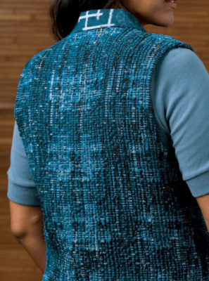 The Sakiori Vest is Japanese rag weaving made with fabric strips cut from old kimono fabric.