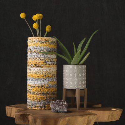 Rag Yarn Vase Cozy