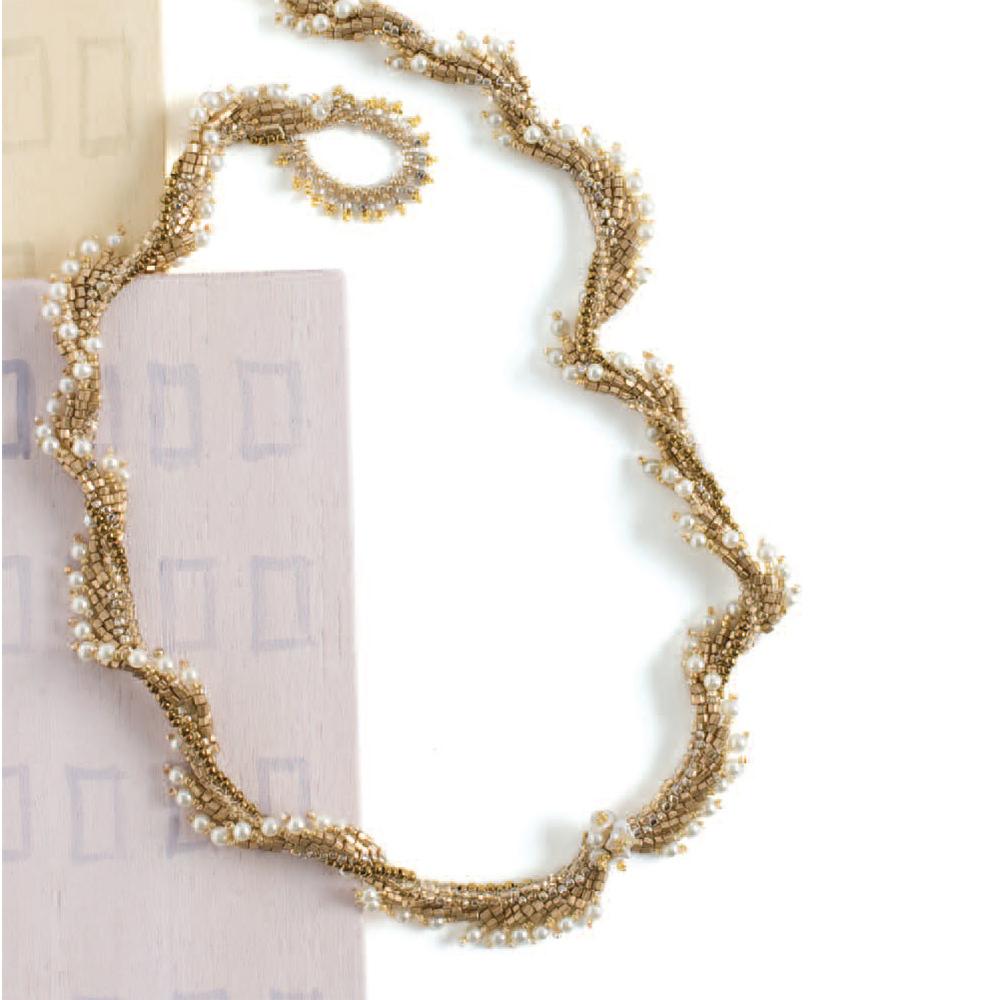 Golden Twist Necklace by Ludmila Raitzin seed bead patterns