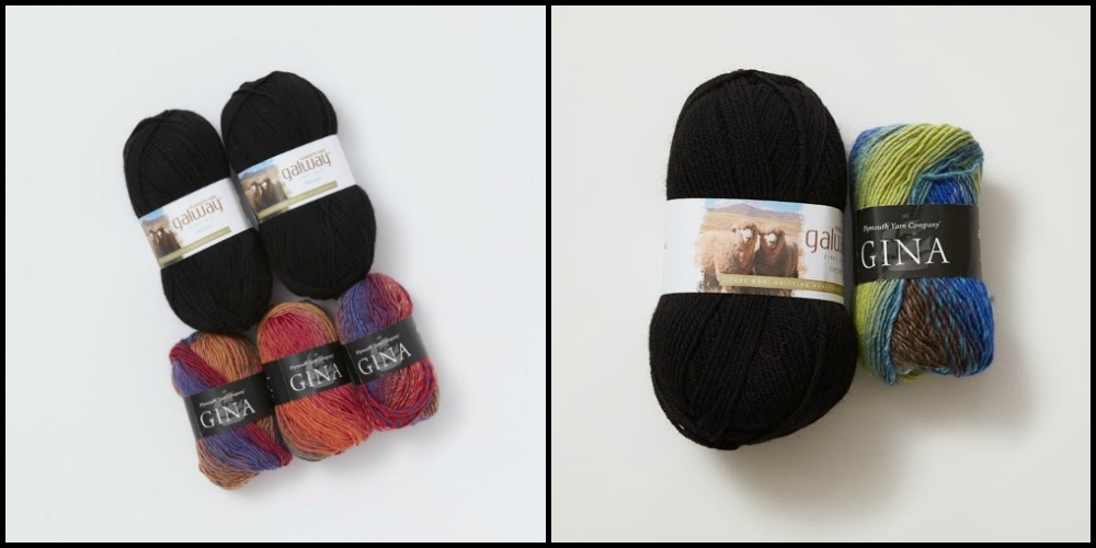 Two colorways that can be used to knit the Ramona Phoenix Cowl.