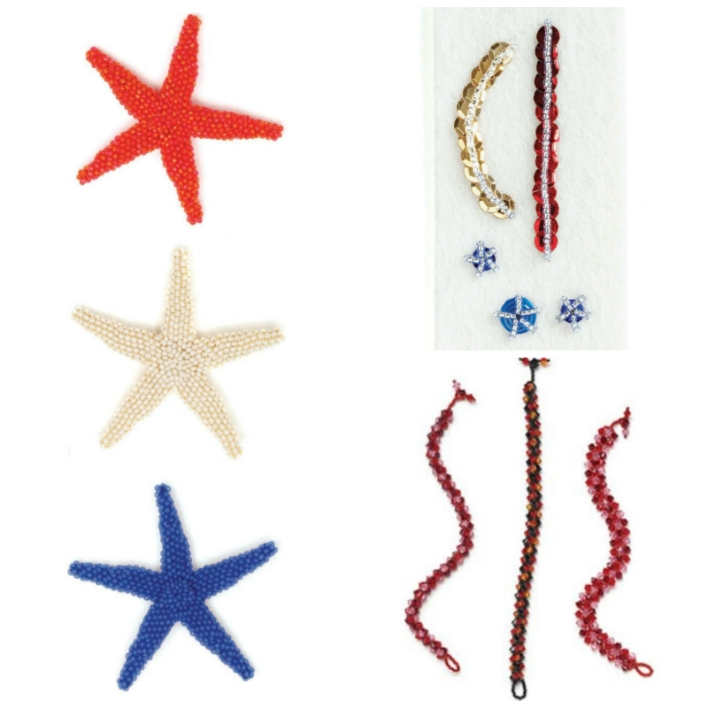 Bead Weaving: Summer-Inspired Beading Designs for the 4th of July. Clockwise, from left: Wish Upon a Starfish, Spangled Stars and Stripes, Crystal Tango Bracelets