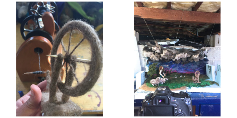 Left: A needlefelted spinning wheel winds on yarn from a Hansen miniSpinner. Right: The Revolution set in progress. Images courtesy of Andrea Love.
