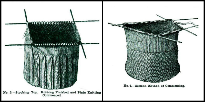 Left: No. 2.—Stocking Top. Ribbing Finished and Plain Knitting Commenced. Right: No. 4.—German Method of Commencing.
