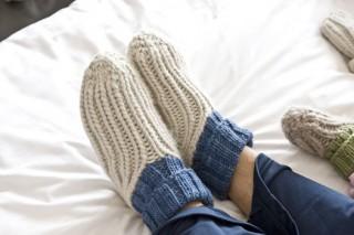 Easy Knit Patterns for Slippers: Ribby Slipper Socks.
