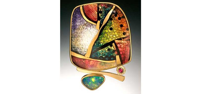 opal, gemstones and enamels combine in this brooch by Ricky Frank