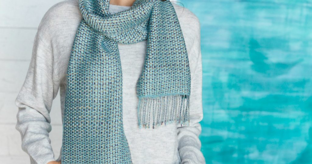 Turquoise Canvas Weave Scarf