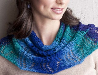 The Rippling Fans Cowl from Interweave is made for hand-dyed yarn and uses knitting in the round techniques.