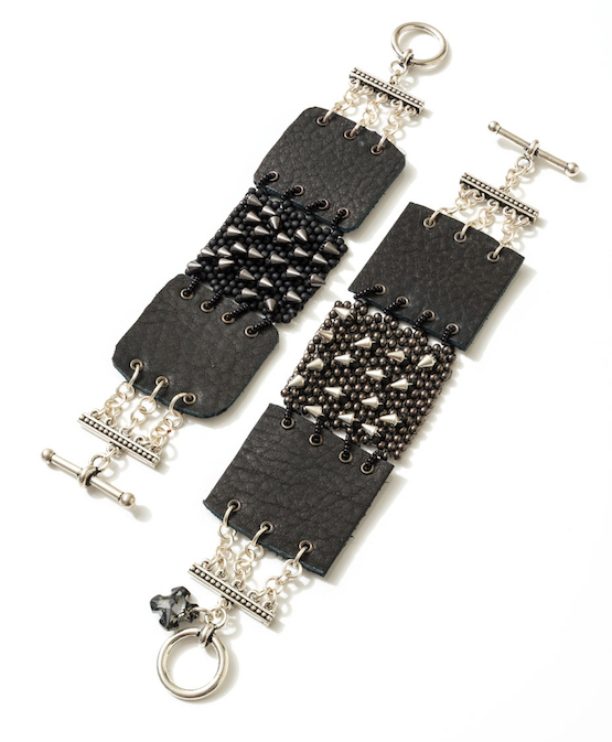Riveted & Leather Bracelet with seed beads and spike fringe