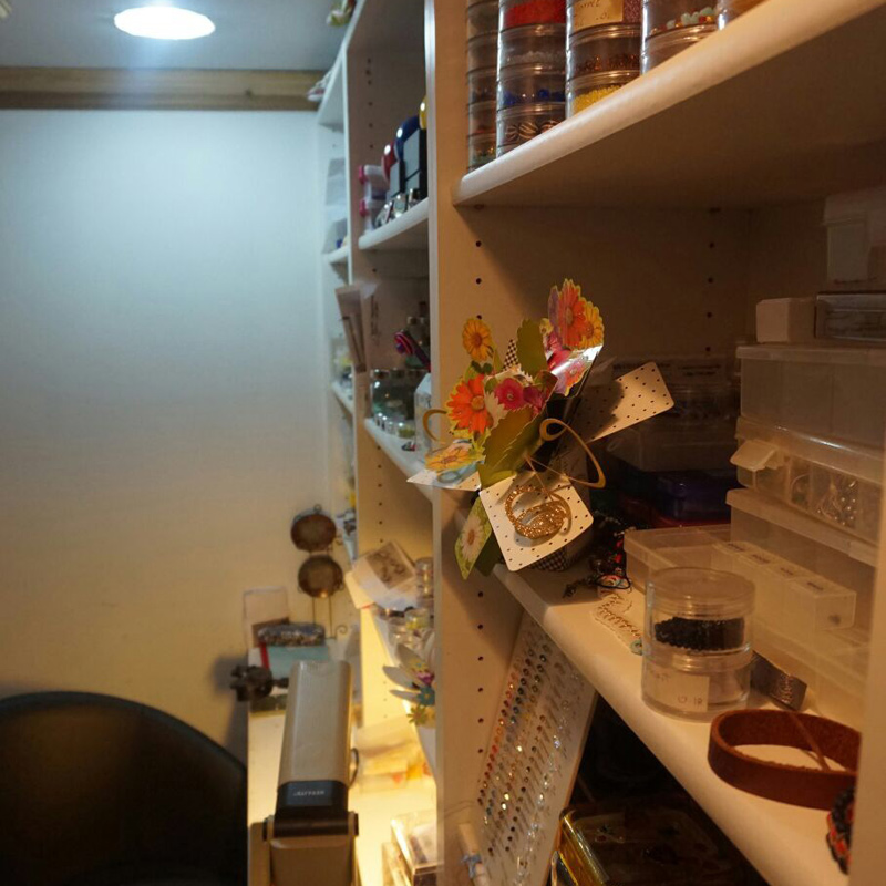 Cecil Rodriguez shares her beading studio space