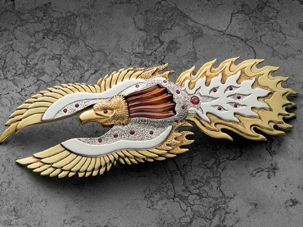 Phoenix Barrette by Roger Halas, from July 2014 Lapidary Journal Jewelry Artist