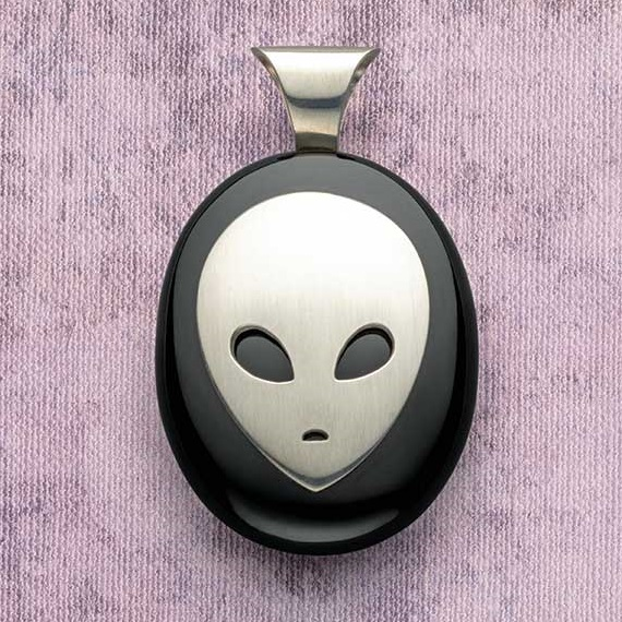 jewelry design: Is Anyone Out There? Alien Pendant by Roger Halas