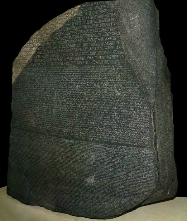 The Rosetta Stone is what eventually led to scholars translating ancient Egyptian hieroglyphs. Photo by Hans Hillewaert.