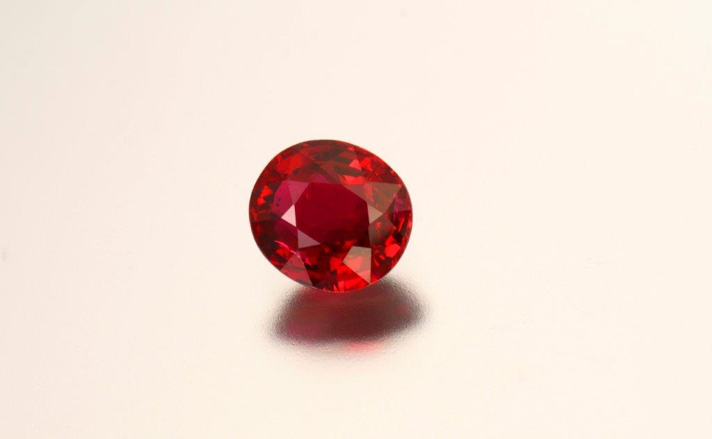 2.03 carat cushion-cut natural ruby. Photo by Mia Dixon, courtesy of Palagems.com.