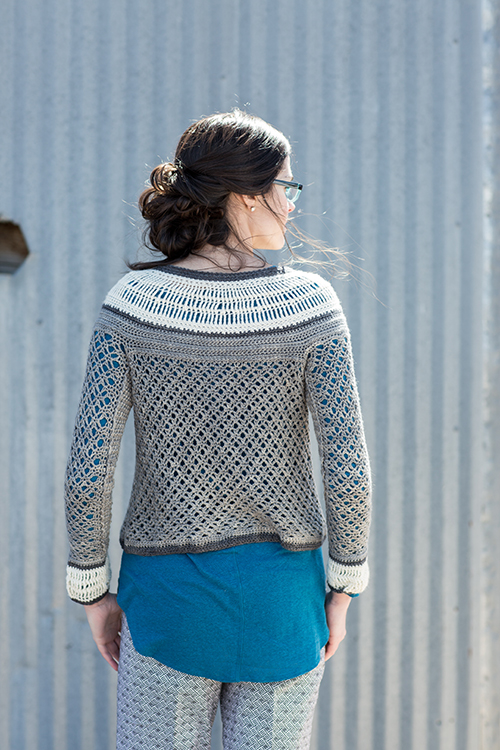 Back of Ruched Crochet Cardigan