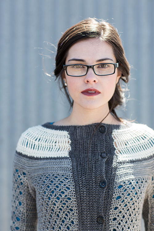 Close Up of Ruched Crochet Cardigan