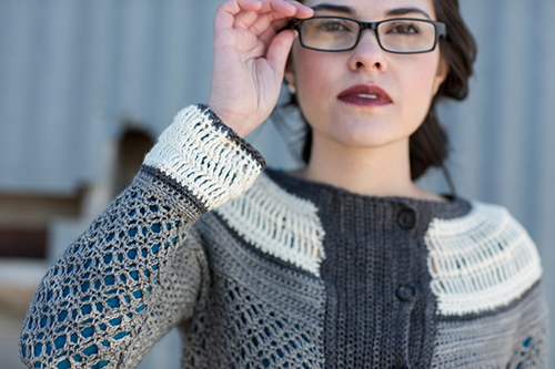Detail of Sleeve on Ruched Crochet Cardigan