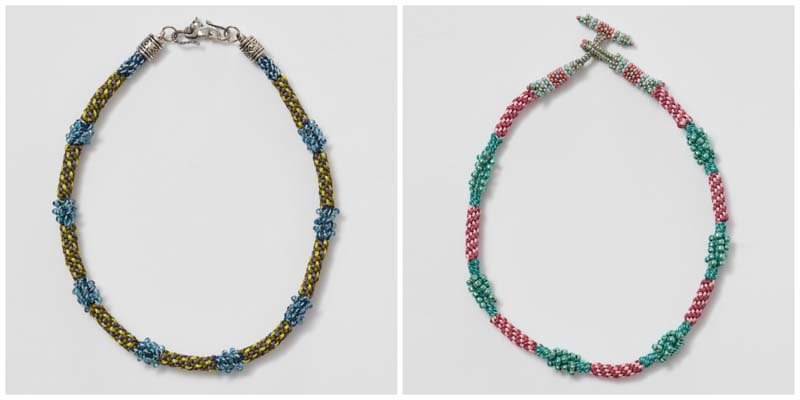 Peek-a-Boo Koo necklace made with beaded strands; necklace made with beaded strands and a beaded toggle clasp