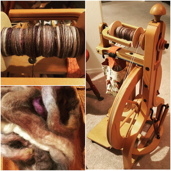 Tina has been spinning Three Waters Farm Blue Face Leicester in the colorway Rags and Bones. Photo: Tina Sanders.