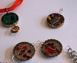 bottle cap upcycled mixed media jewelry
