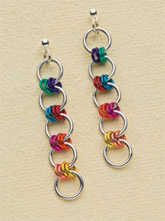 Roller Girl chain maille earrings by Sara Richardson