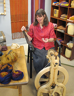 Sara Lamb demonstrates how to create handspun yarn for weaving