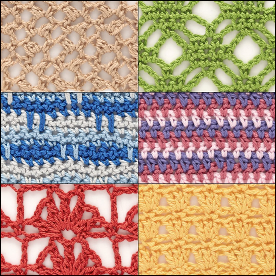 From top-right corner moving clockwise, the Woven Lattice, Striped Wide Half Double Crochet, Parquet, Boxed Fans, Braided Stripes, and Pebble Lace crochet stitches from The Step-By-Step Guide to 200 Crochet Stitches are just begging to be made into a scarf. ©Quarto Publishing plc, by Phil Wilkins
