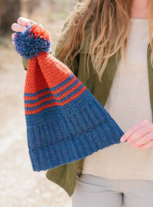School Colors Crochet Hat with Ribbing Brim