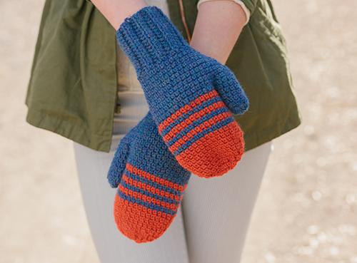 Hands crossed in School Colors Mittens
