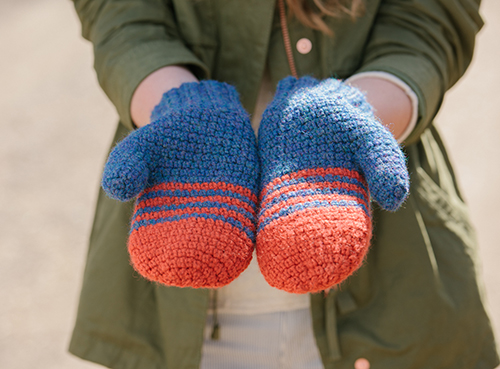 Palm of School Colors Crochet Mittens