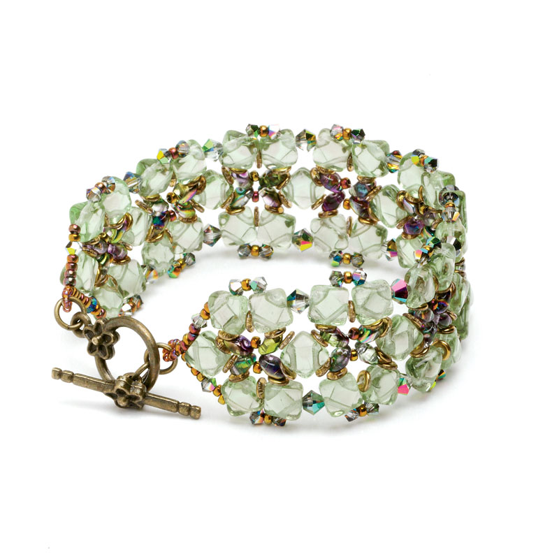 Bead Weaving: Start Your Spring with Beaded Leaves and Flowers with Huib Petersen. Sea Glass Garden beaded bracelet by Svetlana Chernitsky