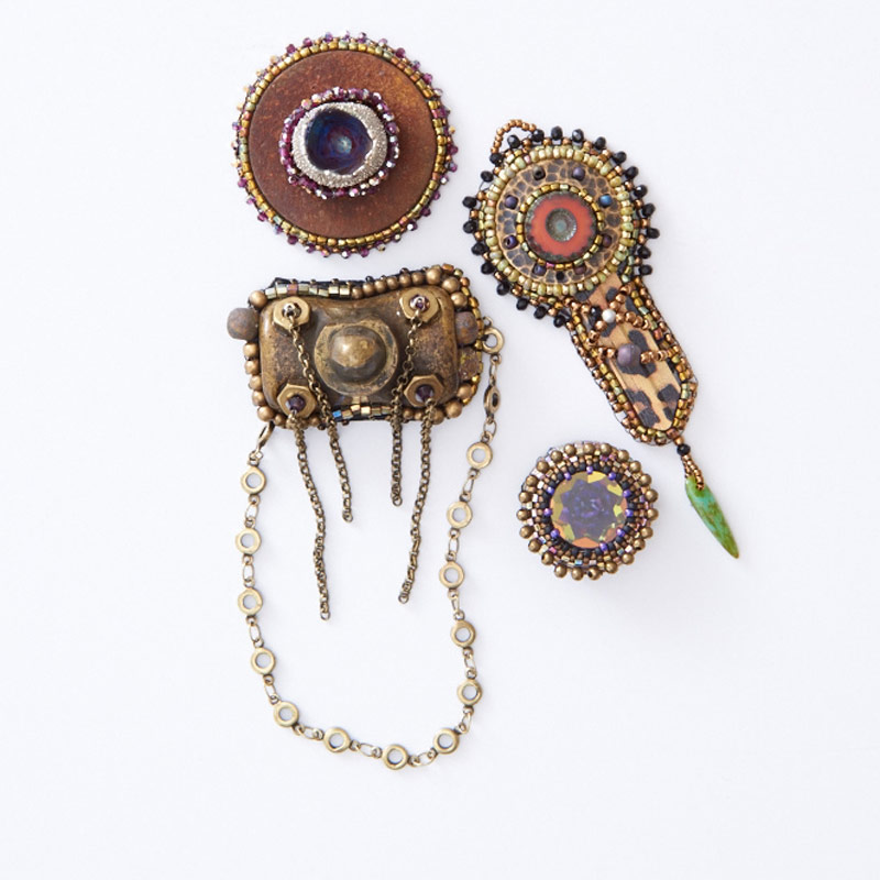 Learn All About Sherry Serafini, Bead Embroidery Goddess. Bead embroidery found object designs.