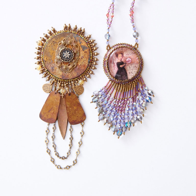 Learn All About Sherry Serafini, Bead Embroidery Goddess. Bead embroidery found object and fringe designs.
