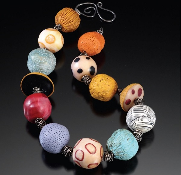 polymer clay and wire necklace by Ronna Sarvas Weltman