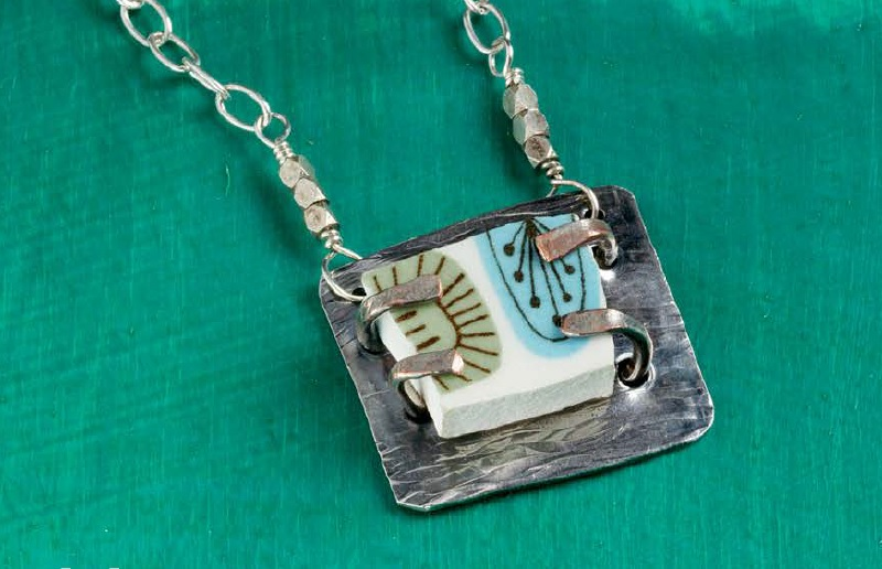 Shattered broken china pendant by Denise Peck - metal jewelry from Wire + Metall by Denise Peck and Jane Dickerson