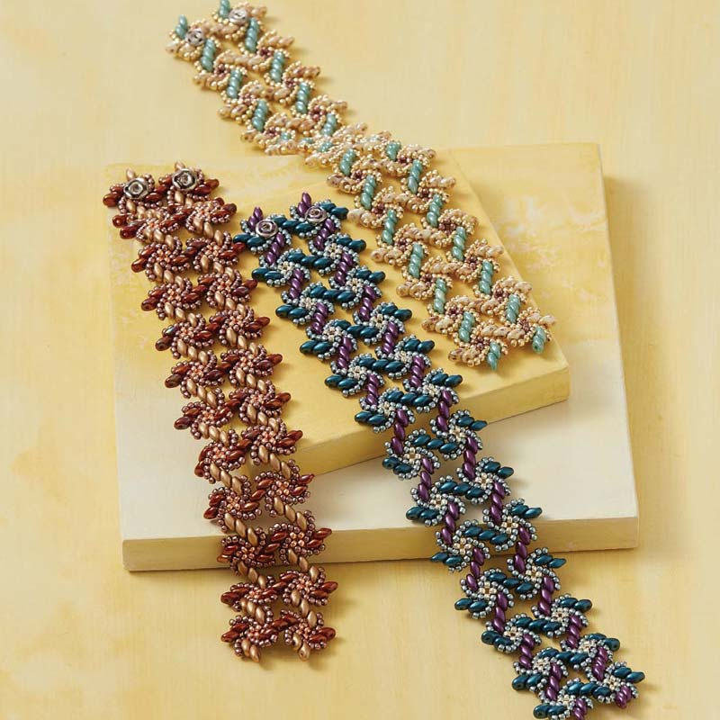 Kassie Shaw, author of Beadweaving Beyond the Basics, is a 2017 Beadwork Designer of the Year. Her Vortices Bracelet, featured in February/March 2017 Beadwork, is a fun component-based piece with a clever hidden snap closure.