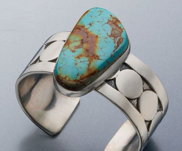 Silver and Turquoise Cuff by Sam Patania