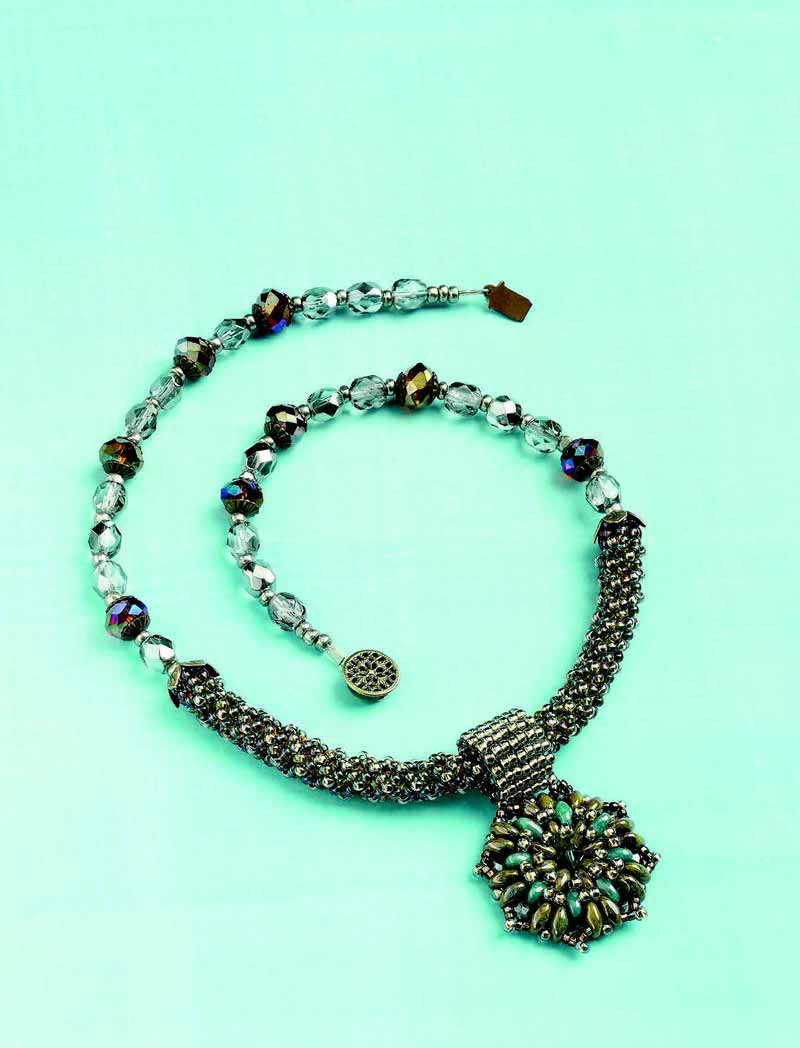 Jewelry Trends Report and Free Beaded Choker Necklace Projects. Combine circular peyote stitch with two-hole seed beads to create this elegant, ocean-hued medallion suspended by a square-stitch bail and strung with a netted tube and crystals.