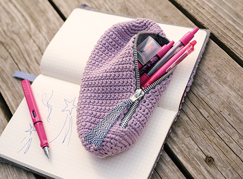 Crochet Pencil Case unzipped