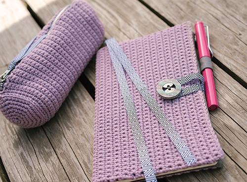 Sketch Set Crochet Journal Cover and Crochet Pencil Case