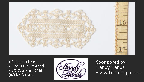 First-Place Lacemaking/Tatting Winner: Suzane Herget, Tatted Silk Oval Table Doily