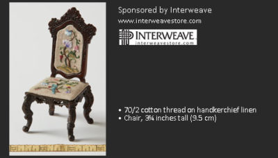 Second Place Winner: Sue Resseguie, Embroidered Upholstery for a Chair