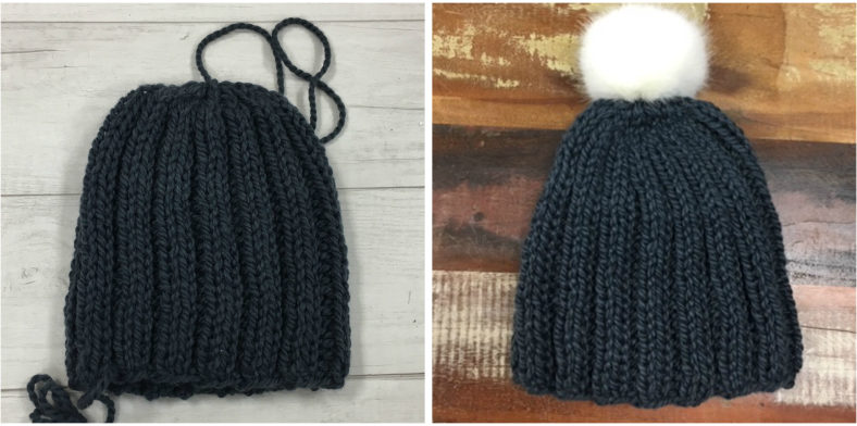 My finished knit hat, with and without the pom-pom.